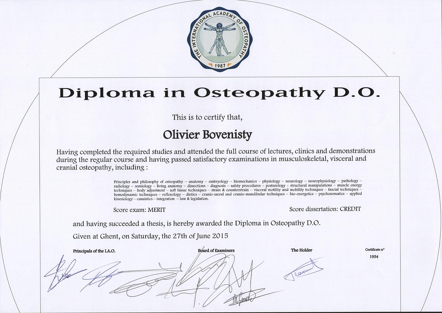 Diplome ostéopathe Olivier Bovenisty