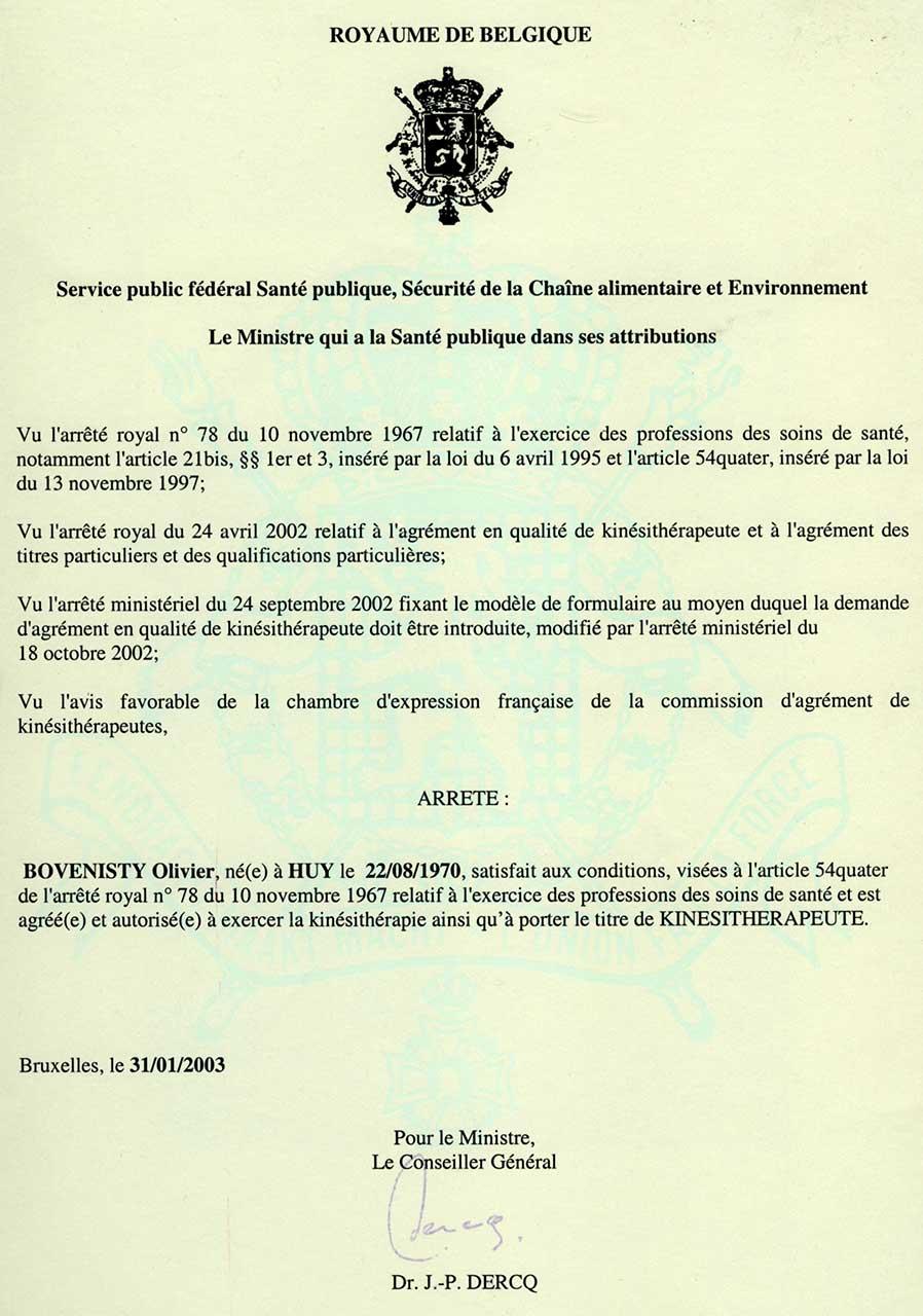 Agrégation Kiné Olivier Bovenisty