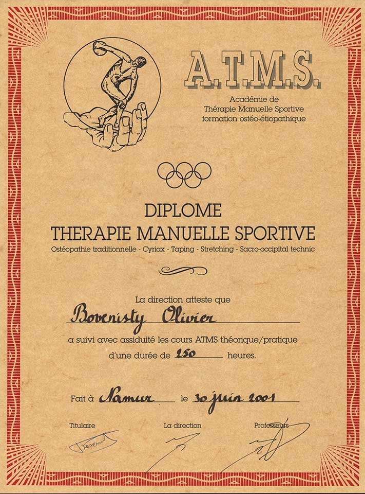 Diplome Kiné Olivier Bovenisty