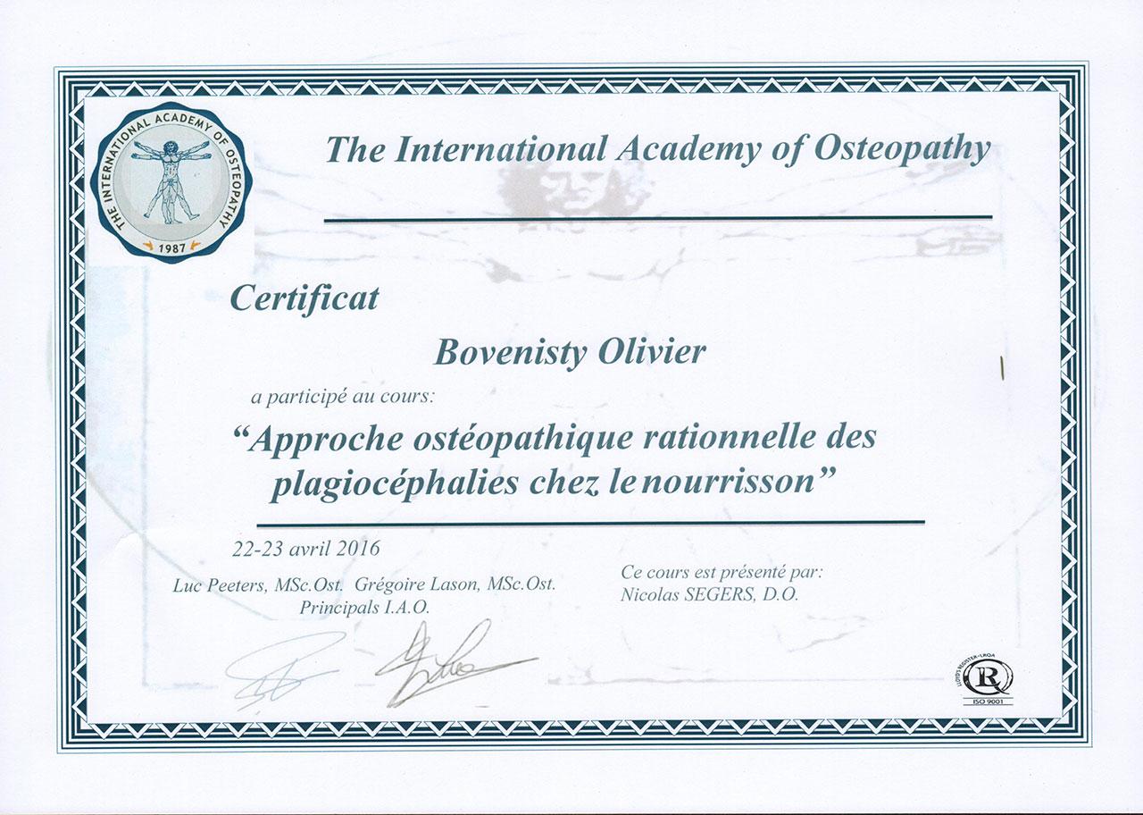 Diplome en approche ostéopathique rationnelle des plagiocéphalies chez le nourrisson